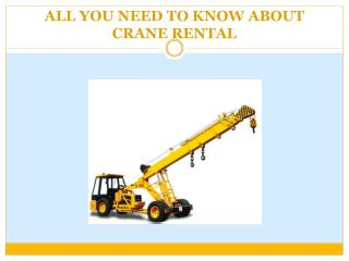 All You Need To Know About Crane Rental