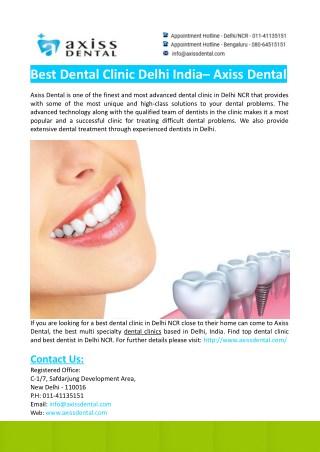 Best Dental Clinic Delhi India- Axiss Dental