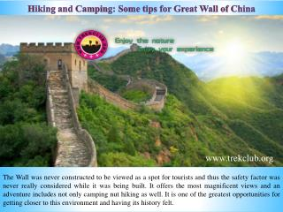 Hiking and Camping: Some tips for Great Wall of China