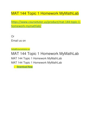 MAT 144 Topic 1 Homework MyMathLab
