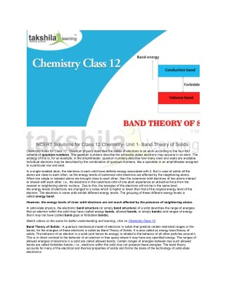 NCERT Solutions for Class 12 Chemistry- Unit 1- Band Theory of Solids