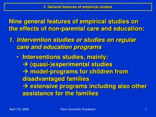2. General features of empirical studies