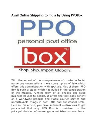Avail Online Shipping to India by Using PPOBox