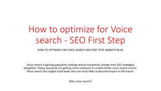 How to optimize for Voice search - SEO First Step