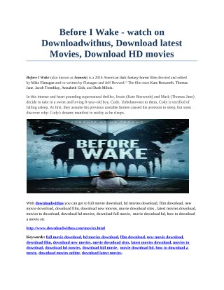 Before I Wake - watch on Downloadwithus, Download latest Movies, Download HD movies
