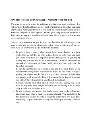 Few Tips to Make Your Invisalign Treatment Work for You