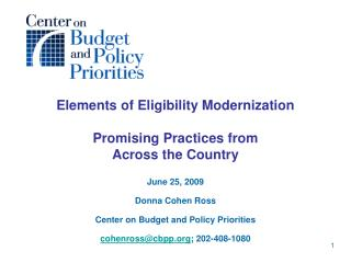Elements of Eligibility Modernization Promising Practices from  Across the Country