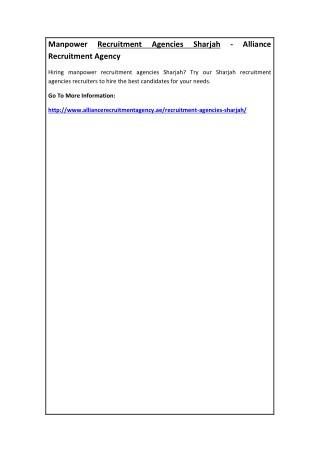 Manpower Recruitment Agencies Sharjah - Alliance Recruitment Agency