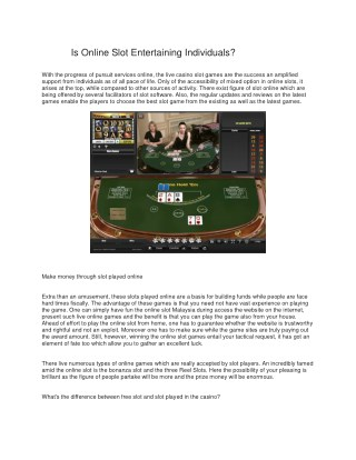 Is Online Slot Entertaining Individuals?