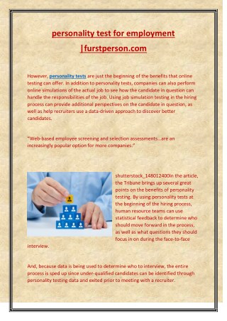personality test for employment  |furstperson
