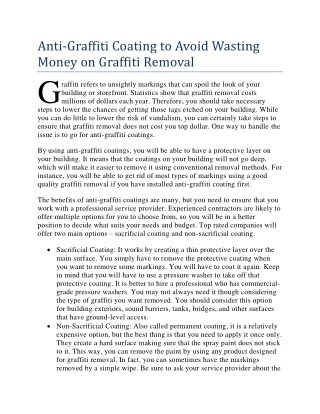 Anti-Graffiti Coating to Avoid Wasting Money on Graffiti Removal