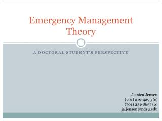 Emergency Management Theory