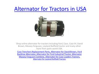 Alternator for Tractors in USA