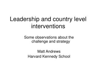 Leadership and country level interventions