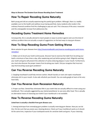How To Repair Receding Gums Naturally