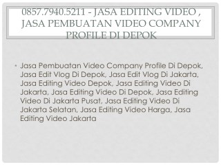 0857.7940.5211 - Jasa Editing Video , Jasa Video Iklan Fb Ads