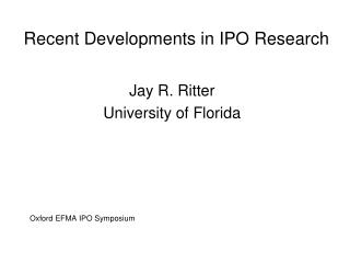 Recent Developments in IPO Research