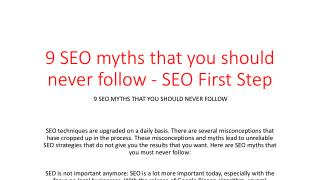 9 SEO myths that you should never follow - SEO First Step