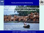 Poverty and Environment Mainstreaming
