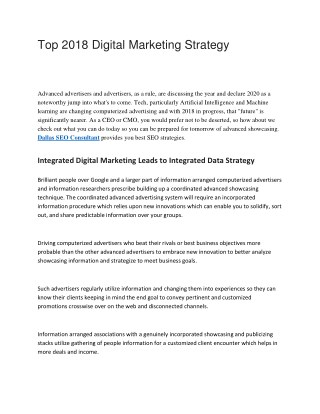 Top 2018 Digital Marketing Strategy
