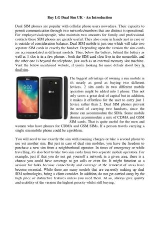 Buy LG Dual Sim UK - An Introduction