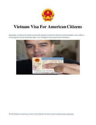 Vietnam Visa for US Citizens   Vietnam Visa for American Citizens