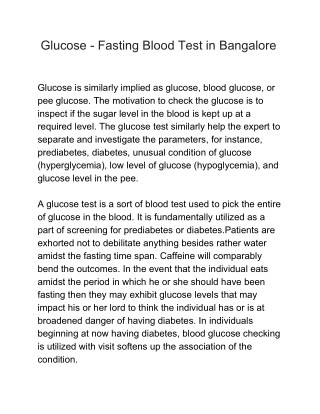 Glucose - Fasting Blood Test in Bangalore