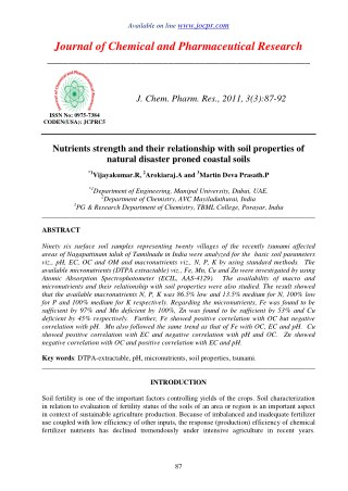 Nutrients strength and their relationship with soil properties of natural disaster proned coastal soils