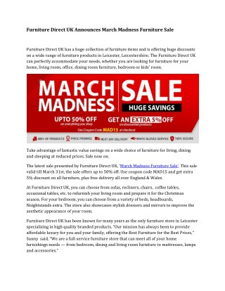 Furniture Direct UK Announces March Madness Furniture Sale