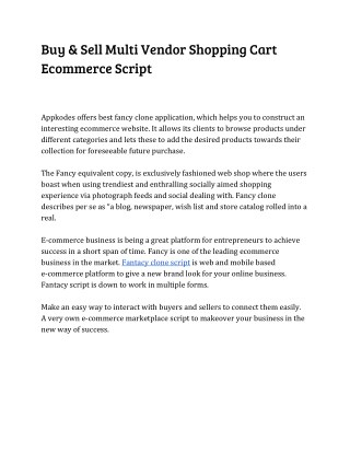 Buy & Sell Multi Vendor Shopping Cart Ecommerce Script