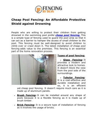 Cheap Pool Fencing: An Affordable Protective Shield against Drowning