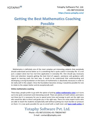 Getting the Best Mathematics Coaching Possible