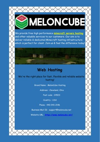 Get Free Minecraft Servers Hosting - Meloncube.net