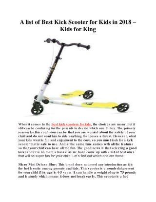 A list of Best Kick Scooter for Kids in 2018 – Kids for King