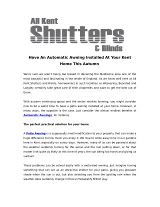 Have An Automatic Awning Installed At Your Kent Home This Autumn