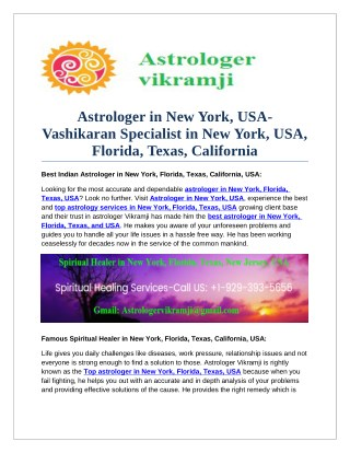 Astrologer in New York, USA-Vashikaran Specialist in New York, USA, Florida, Texas, California
