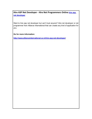 Hire ASP Net Developer - Hire Net Programmers Online hire asp net developer