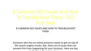 8 Common SEO Issues And How To Troubleshoot Them - SEO First Step