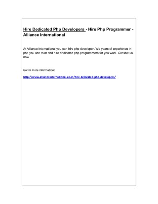 Hire Dedicated Php Developers - Hire Php Programmer - Alliance International