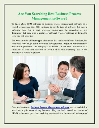 Are You Searching Best Business Process Management software