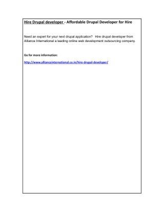Hire Drupal developer - Affordable Drupal Developer for Hire