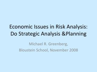Economic Issues in Risk Analysis: Do Strategic Analysis Planning
