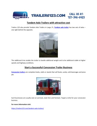 Tandem Axle Trailers with attractive cost