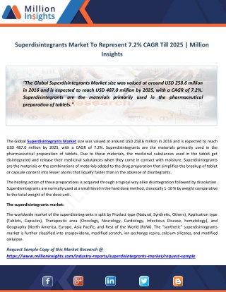 Superdisintegrants Market Size, Share and Outlook Analysis by 2014-2025