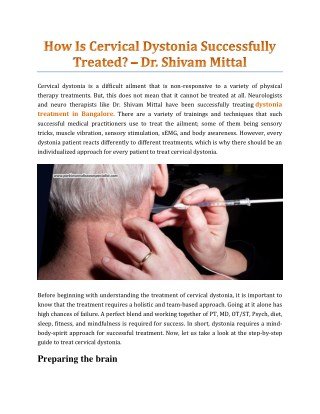 How Is Cervical Dystonia Successfully Treated? - Dr. Shivam Mittal