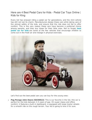 Here are 4 Best Pedal Cars for Kids - Pedal Car Toys Online | Kids for King