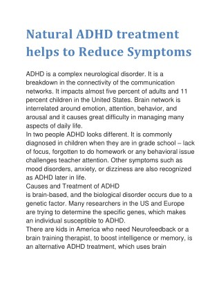 Natural ADHD treatment helps to Reduce Symptoms