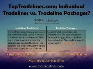 TopTradelines.com: Individual Tradelines vs. Tradeline Packages?