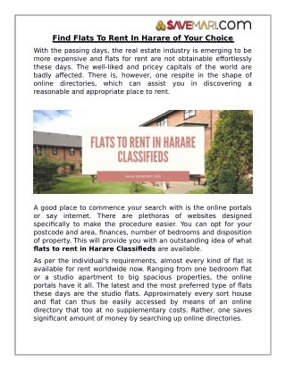 Find Flats To Rent In Harare of Your Choice