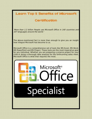 Learn Top 5 Benefits of Microsoft Certification